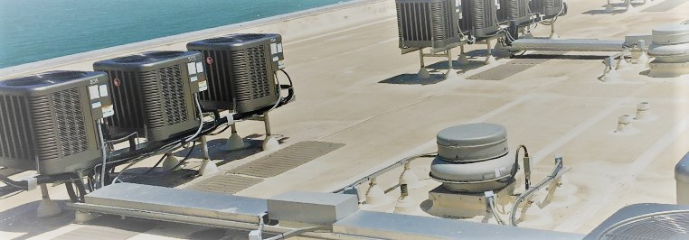 A large set of Air conditioning on rooftop, and Hvac systems