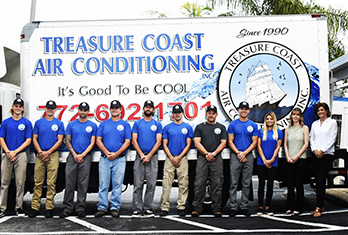Treasure Coast Air Conditioning Team group photo, they service Palm City, Jensen Beach, Stuart, Hobe Sound, Sewalls Point, Hutchinson Island, Fort Pierce, Port. St. Lucie and surrounding areas.