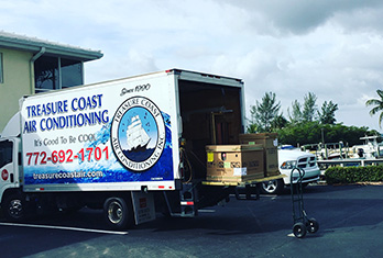 Treasure Coast Air Conditioning, Inc. Box Truck, TC Air services South Florida for over 30 years, They service Palm City, Jensen Beach, Stuart, Hobe Sound, Sewalls Point, Hutchinson Island, Fort Pierce, Port. St. Lucie and surrounding areas.