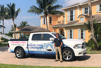 Treasure Coast Air Conditioning, Inc. Truck and Owner, TC Air services South Florida for over 30 years, They service Palm City, Jensen Beach, Stuart, Hobe Sound, Sewalls Point, Hutchinson Island, Fort Pierce, Port. St. Lucie and surrounding areas.
